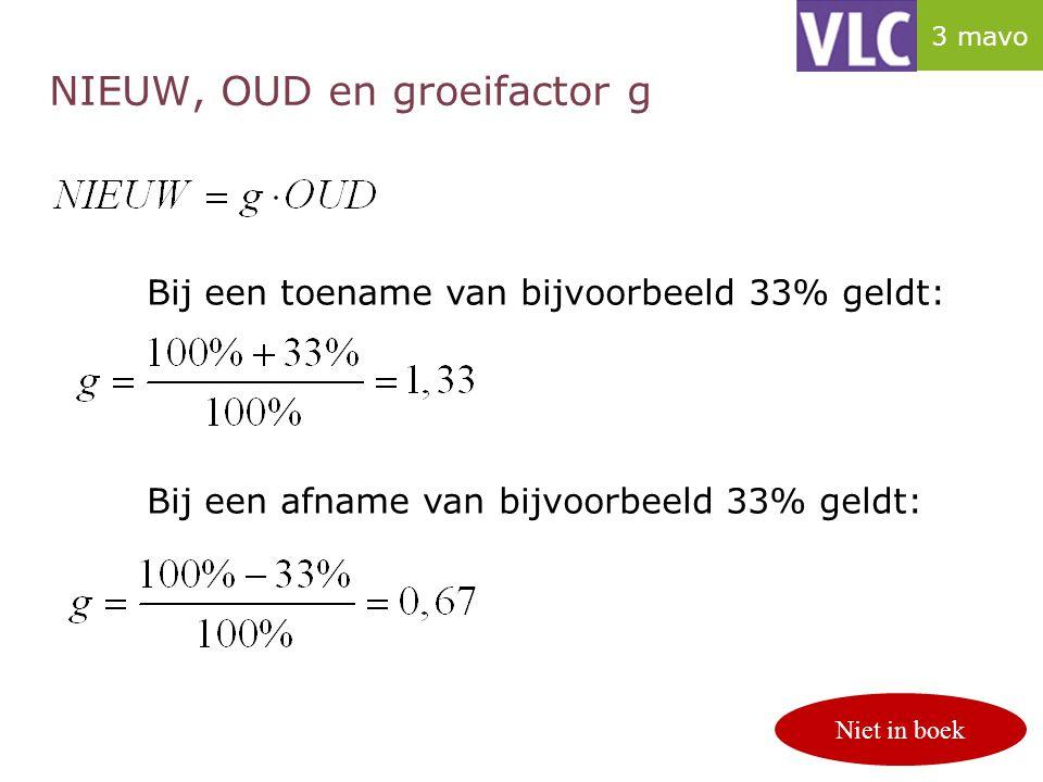 NIEUW, OUD en groeifactor g p. 124/125 Bij een toename van bijvoorbeeld 33% geldt: Bij een afname van bijvoorbeeld 33% geldt: Niet in boek 3 mavo