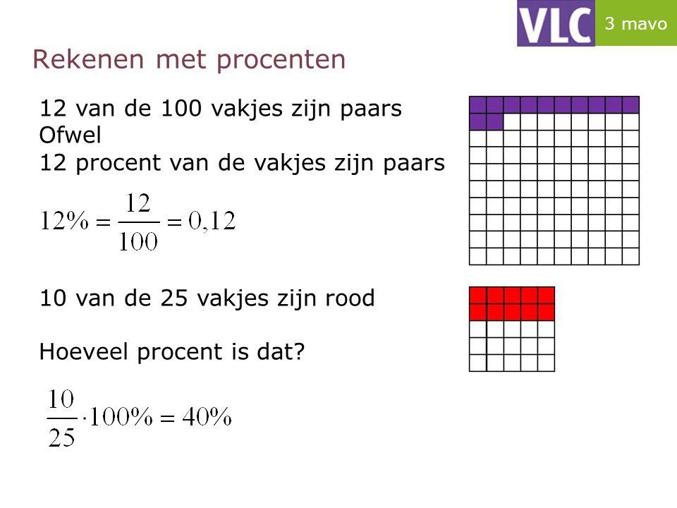Rekenen met procenten 12 van de 100 vakjes zijn paars Ofwel 12 procent van de vakjes zijn paars 10 van de 25 vakjes zijn rood Hoeveel procent is dat?