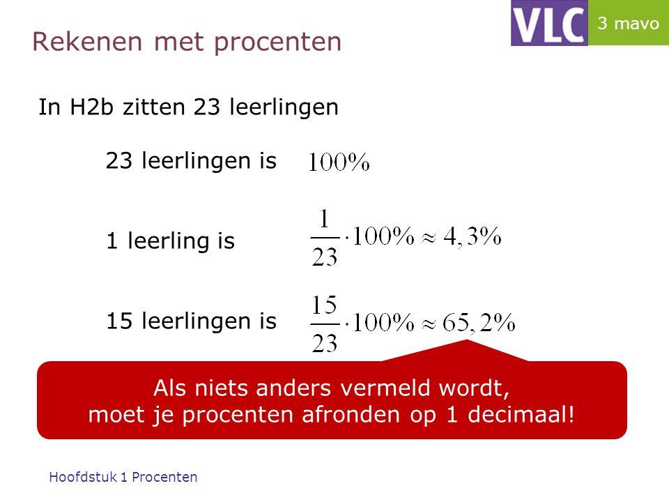 Rekenen met procenten In m3b zitten 23 leerlingen 23 leerlingen is 1 leerling is 15 leerlingen is Je kunt hiervoor dus ook kruislings vermenigvuldigen gebruiken!!.