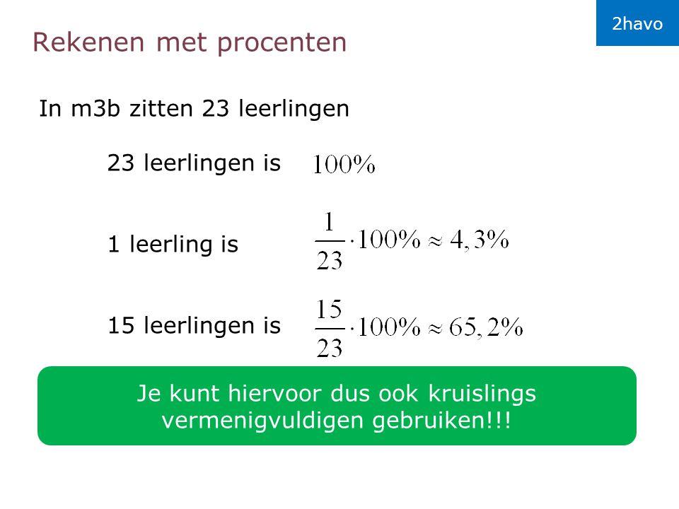 Rekenen met procenten In m3b zitten 23 leerlingen 23 leerlingen is 1 leerling is 15 leerlingen is Je kunt hiervoor dus ook kruislings vermenigvuldigen