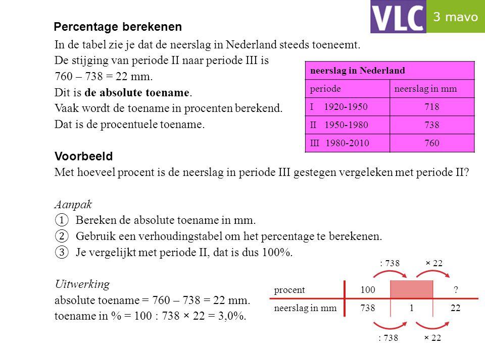 Percentage berekenen In de tabel zie je dat de neerslag in Nederland steeds toeneemt. De stijging van periode II naar periode III is 760 – 738 = 22 mm