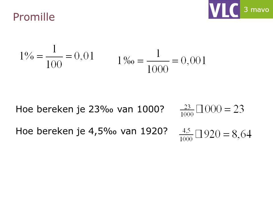 Promille Hoe bereken je 23‰ van 1000? Hoe bereken je 4,5‰ van 1920? 3 mavo