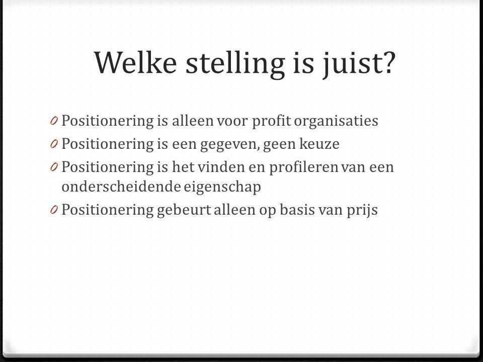 Welke stelling is juist? 0 Positionering is alleen voor profit organisaties 0 Positionering is een gegeven, geen keuze 0 Positionering is het vinden e