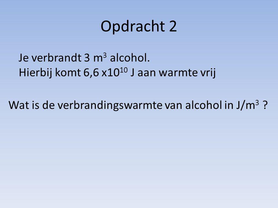 Opdracht 2 Je verbrandt 3 m 3 alcohol. Hierbij komt 6,6 x10 10 J aan warmte vrij Wat is de verbrandingswarmte van alcohol in J/m 3 ?