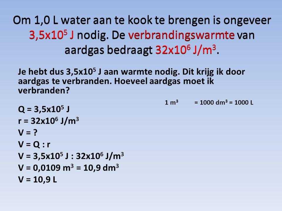 Om 1,0 L water aan te kook te brengen is ongeveer 3,5x10 5 J nodig. De verbrandingswarmte van aardgas bedraagt 32x10 6 J/m 3. Je hebt dus 3,5x10 5 J a