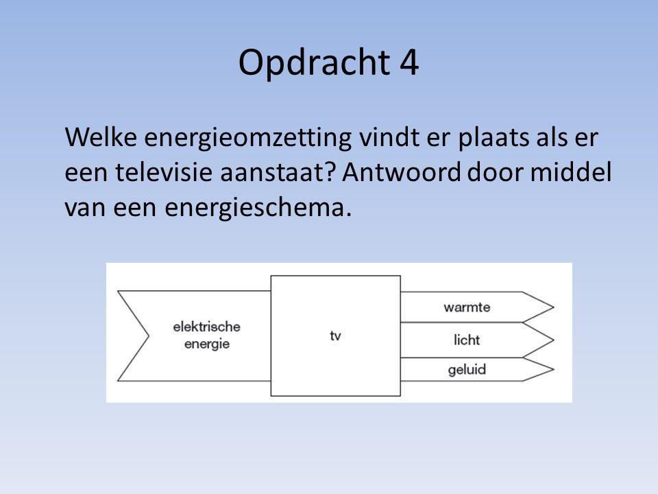 Opdracht 4 Welke energieomzetting vindt er plaats als er een televisie aanstaat? Antwoord door middel van een energieschema.