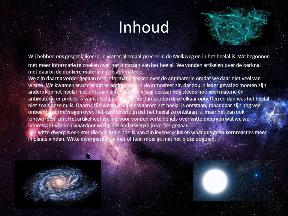 Inhoud Wij hebben ons gespecialiseerd in wat er allemaal precies in de Melkweg en in het heelal is. We begonnen met meer informatie te zoeken over het
