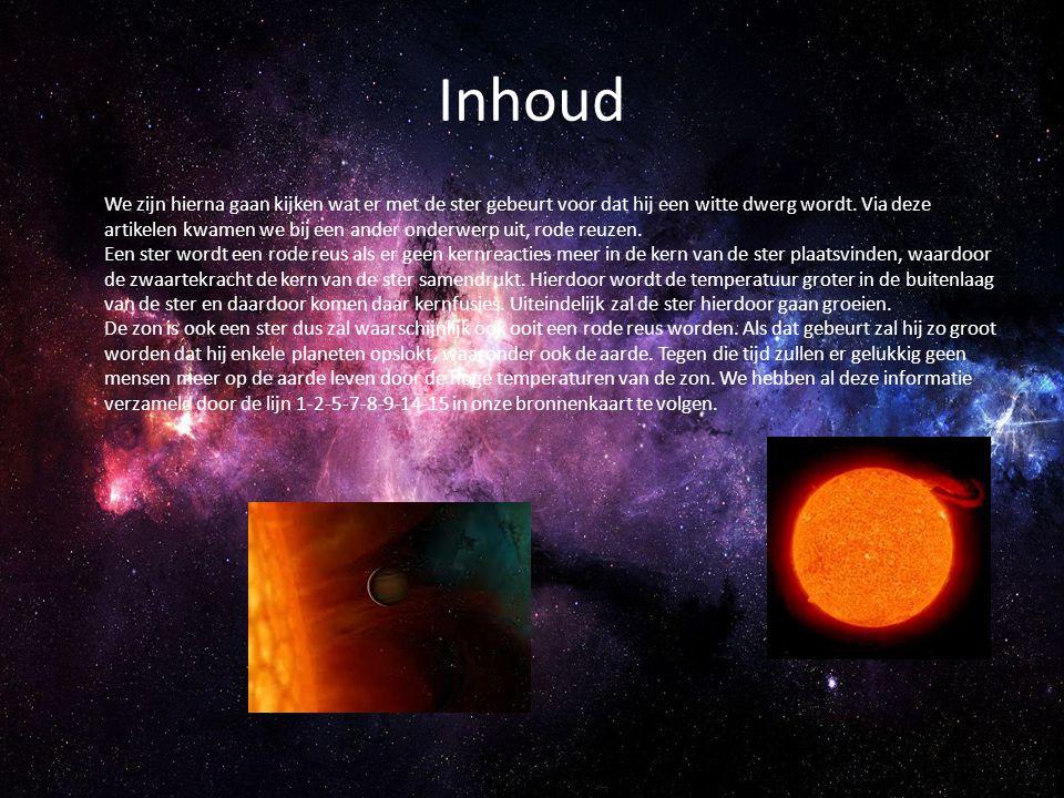 Inhoud We zijn hierna gaan kijken wat er met de ster gebeurt voor dat hij een witte dwerg wordt. Via deze artikelen kwamen we bij een ander onderwerp