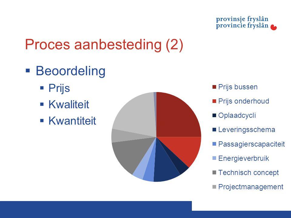 Proces aanbesteding (2)  Beoordeling  Prijs  Kwaliteit  Kwantiteit