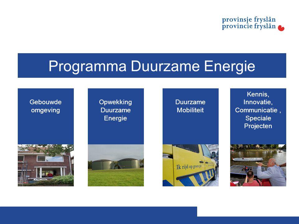 Gebouwde omgeving Opwekking Duurzame Energie Duurzame Mobiliteit Kennis, Innovatie, Communicatie, Speciale Projecten Programma Duurzame Energie
