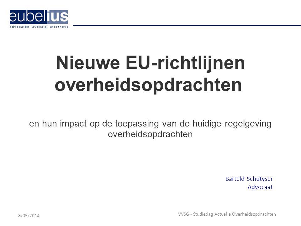 Onderhandelingsprocedure Belangrijkste wijzigingen - nieuwe Richtlijnen 1.Veralgemening van het gebruik van de onderhandelingsprocedure met bekendmaking >Considerans 42 preambule Richtlijn 2014/24/EU: De aanbestedende diensten hebben grote behoefte aan extra flexibiliteit die ruimte biedt om een aanbestedingsprocedure te kiezen die voorziet in onderhandelingen.