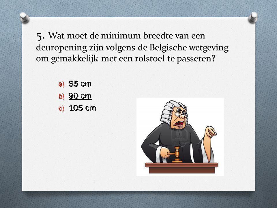 5. Wat moet de minimum breedte van een deuropening zijn volgens de Belgische wetgeving om gemakkelijk met een rolstoel te passeren? a) 85 cm b) 90 cm