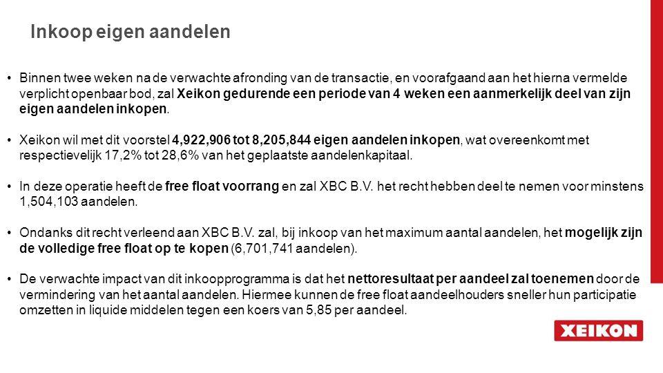 Inkoop eigen aandelen Binnen twee weken na de verwachte afronding van de transactie, en voorafgaand aan het hierna vermelde verplicht openbaar bod, za
