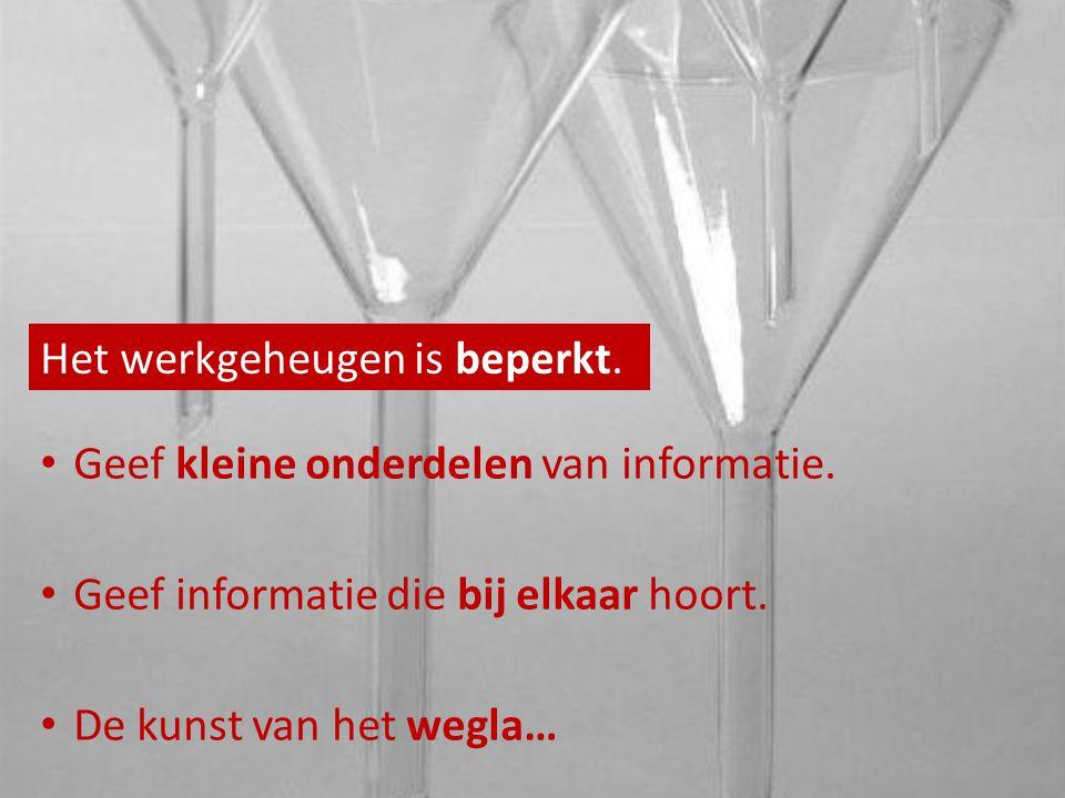 Het werkgeheugen is beperkt. Geef kleine onderdelen van informatie.