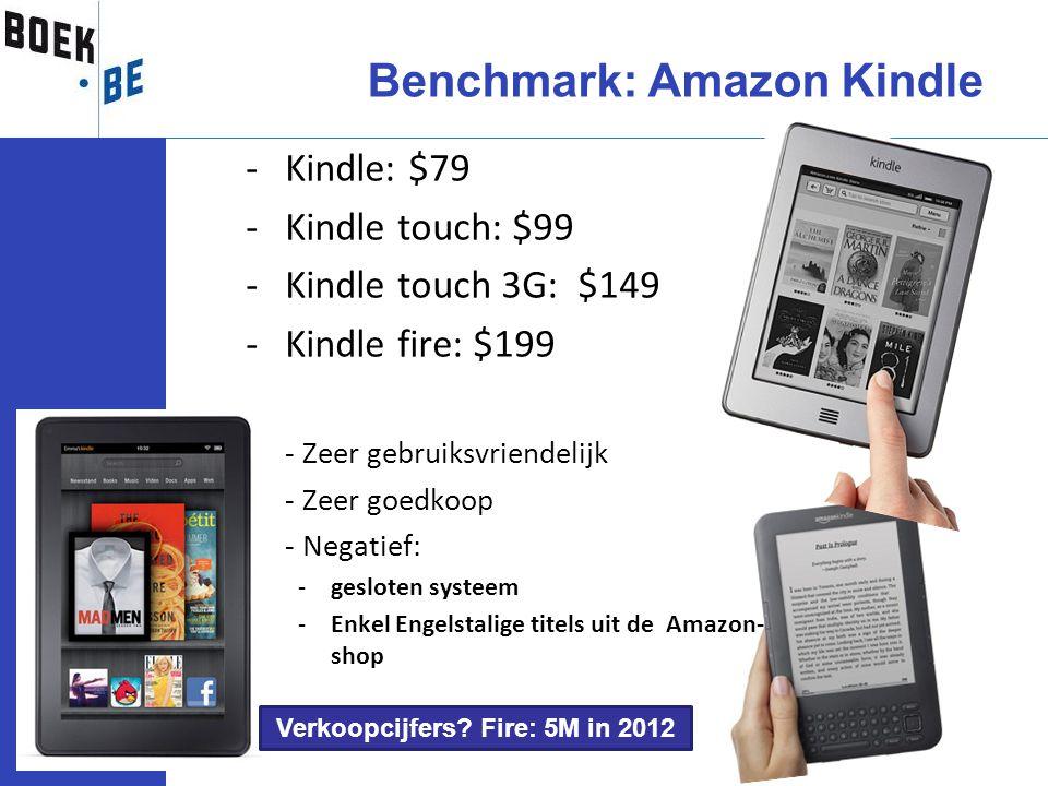 -Kindle: $79 -Kindle touch: $99 -Kindle touch 3G: $149 -Kindle fire: $199 -- Zeer gebruiksvriendelijk -- Zeer goedkoop -- Negatief: -gesloten systeem