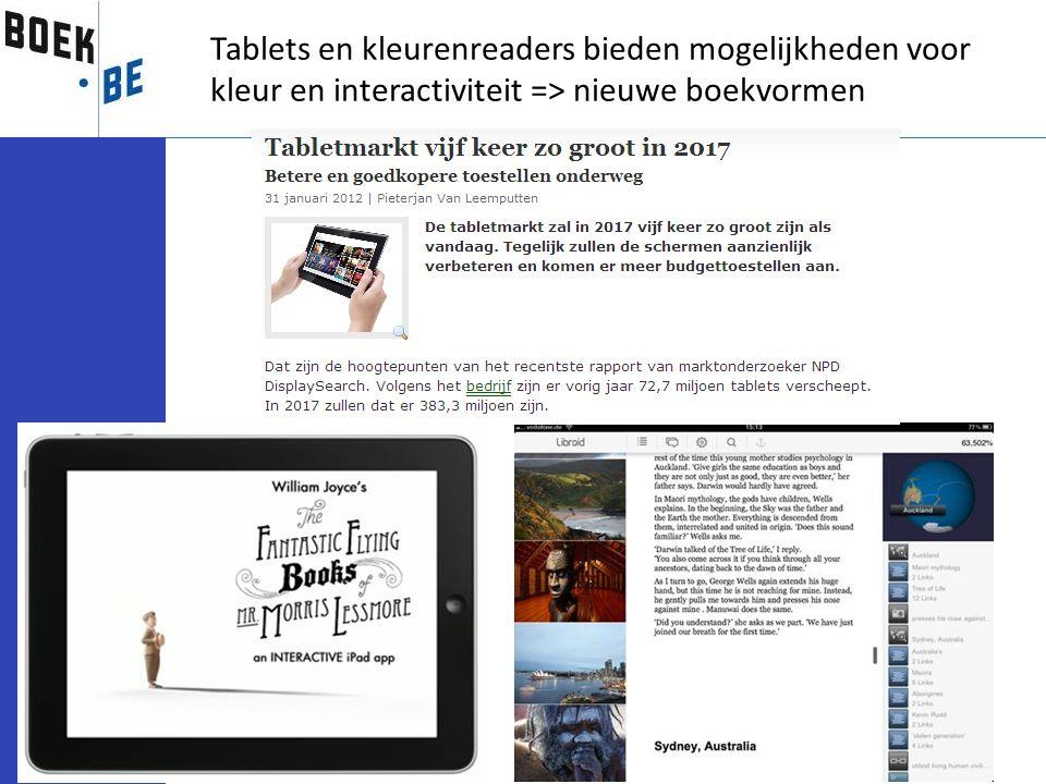 Tablets en kleurenreaders bieden mogelijkheden voor kleur en interactiviteit => nieuwe boekvormen