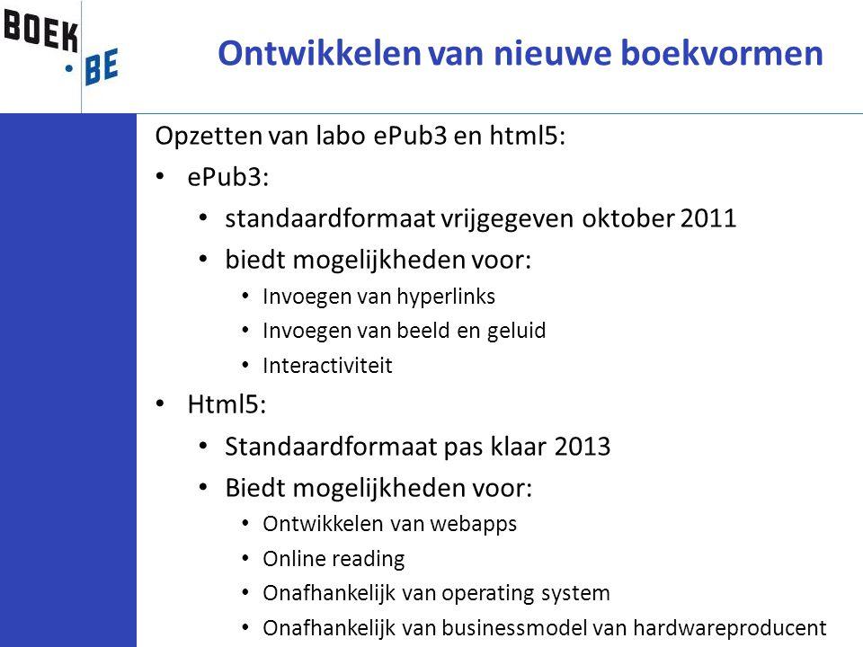 Opzetten van labo ePub3 en html5: ePub3: standaardformaat vrijgegeven oktober 2011 biedt mogelijkheden voor: Invoegen van hyperlinks Invoegen van beel