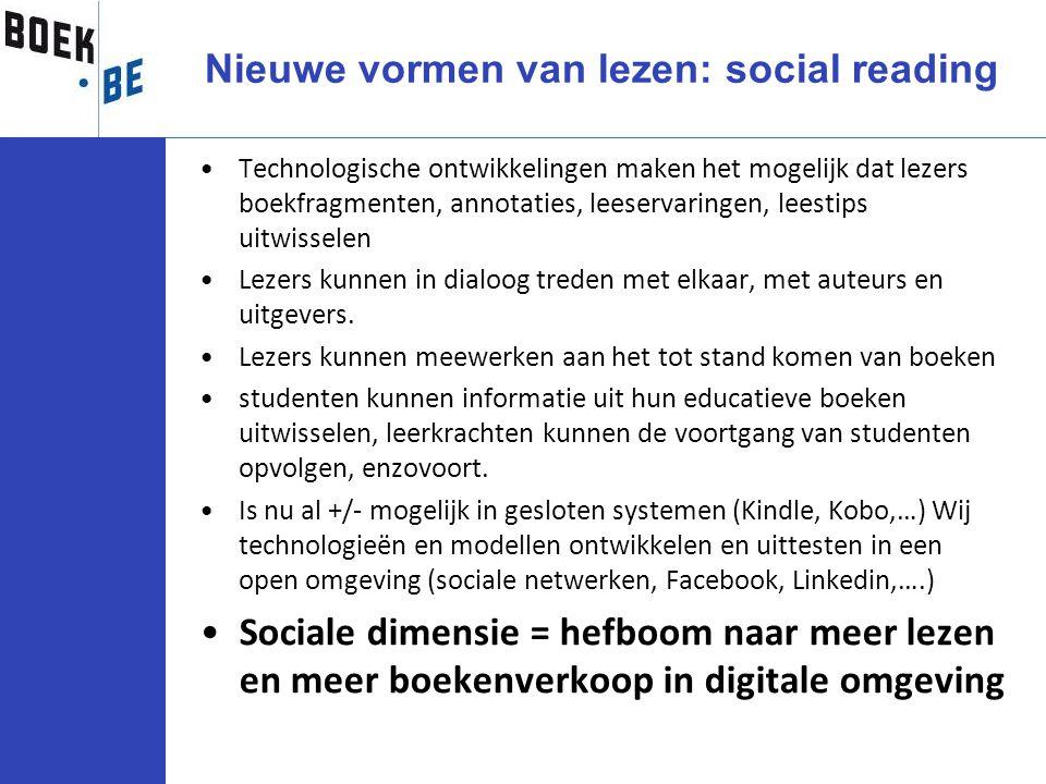 Nieuwe vormen van lezen: social reading Technologische ontwikkelingen maken het mogelijk dat lezers boekfragmenten, annotaties, leeservaringen, leesti
