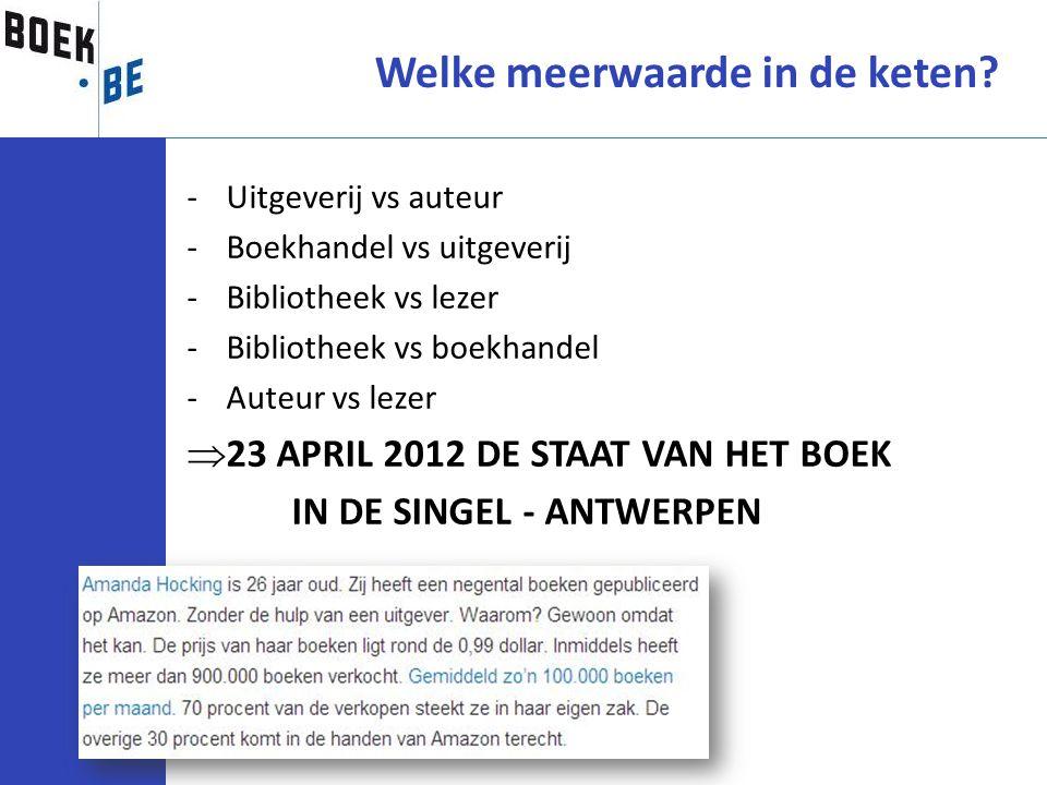 Welke meerwaarde in de keten? -Uitgeverij vs auteur -Boekhandel vs uitgeverij -Bibliotheek vs lezer -Bibliotheek vs boekhandel -Auteur vs lezer  23 A