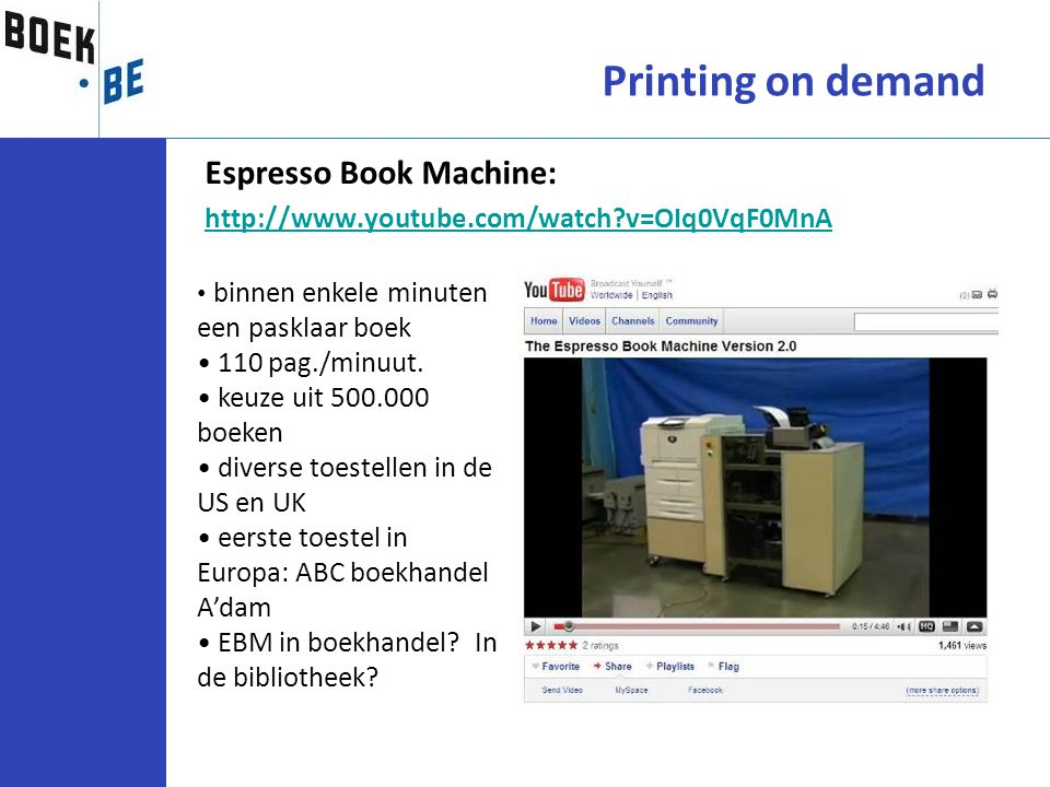 Espresso Book Machine: http://www.youtube.com/watch?v=OIq0VqF0MnA Printing on demand binnen enkele minuten een pasklaar boek 110 pag./minuut. keuze ui