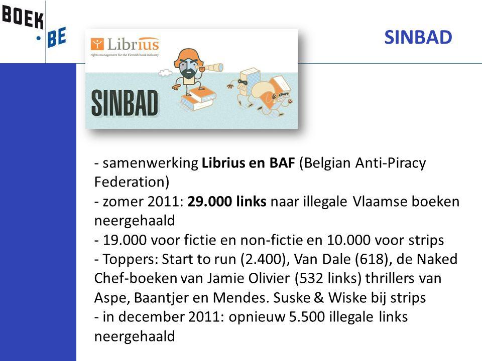 SINBAD - samenwerking Librius en BAF (Belgian Anti-Piracy Federation) - zomer 2011: 29.000 links naar illegale Vlaamse boeken neergehaald - 19.000 voo