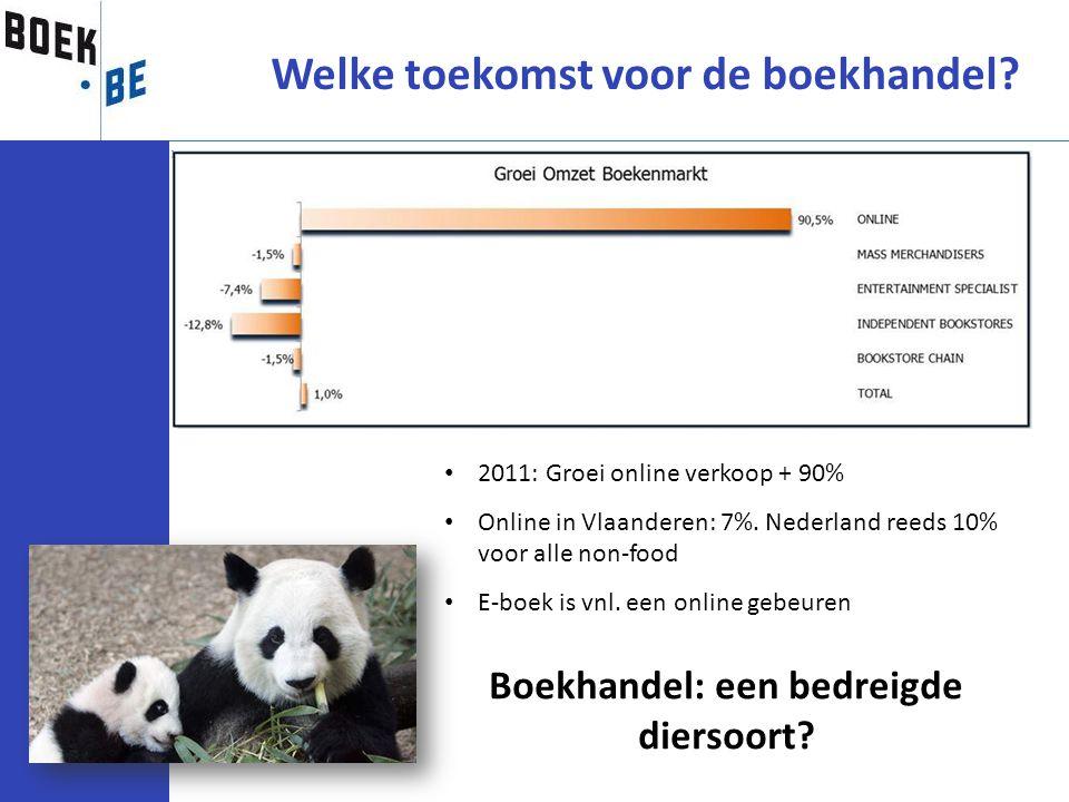 Welke toekomst voor de boekhandel? Boekhandel: een bedreigde diersoort? 2011: Groei online verkoop + 90% Online in Vlaanderen: 7%. Nederland reeds 10%