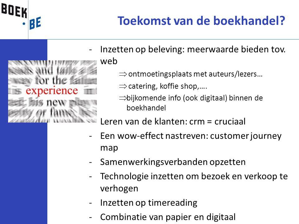 Toekomst van de boekhandel? -Inzetten op beleving: meerwaarde bieden tov. web  ontmoetingsplaats met auteurs/lezers…  catering, koffie shop,….  bij