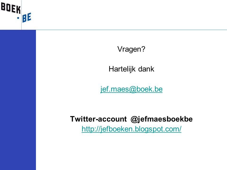 Vragen? Hartelijk dank jef.maes@boek.be Twitter-account @jefmaesboekbe http://jefboeken.blogspot.com/