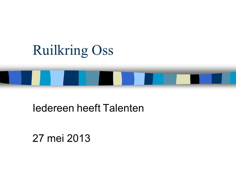 Ruilkring Oss Iedereen heeft Talenten 27 mei 2013