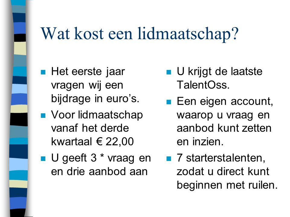 Wat kost een lidmaatschap. n Het eerste jaar vragen wij een bijdrage in euro's.