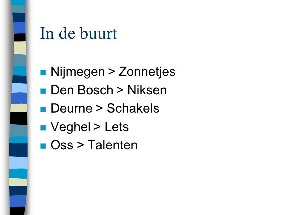 In de buurt n Nijmegen > Zonnetjes n Den Bosch > Niksen n Deurne > Schakels n Veghel > Lets n Oss > Talenten