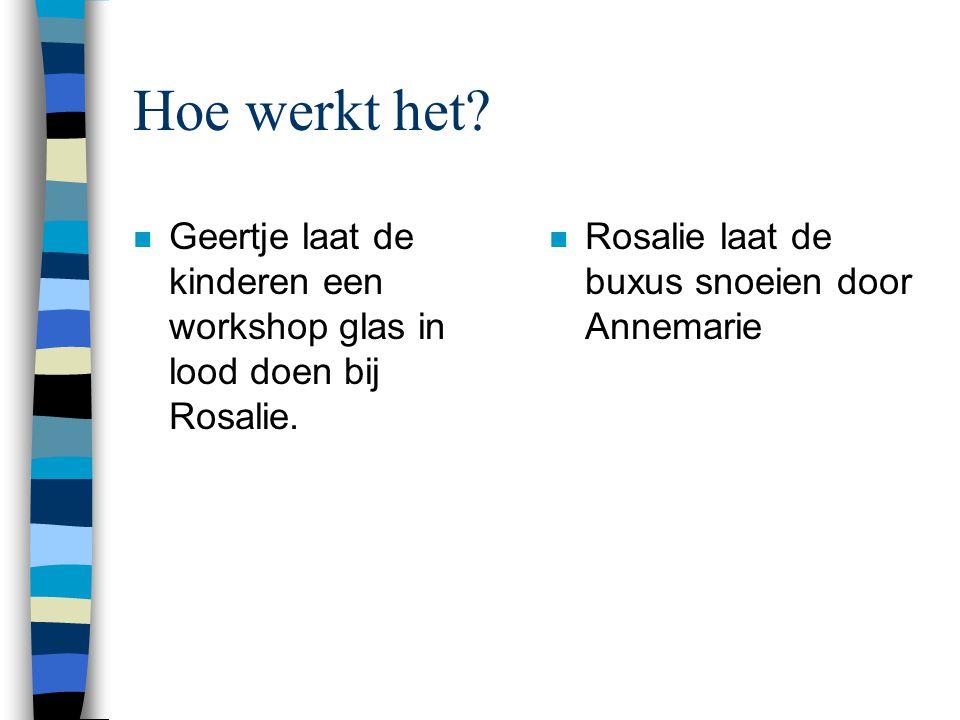 Hoe werkt het. n Geertje laat de kinderen een workshop glas in lood doen bij Rosalie.