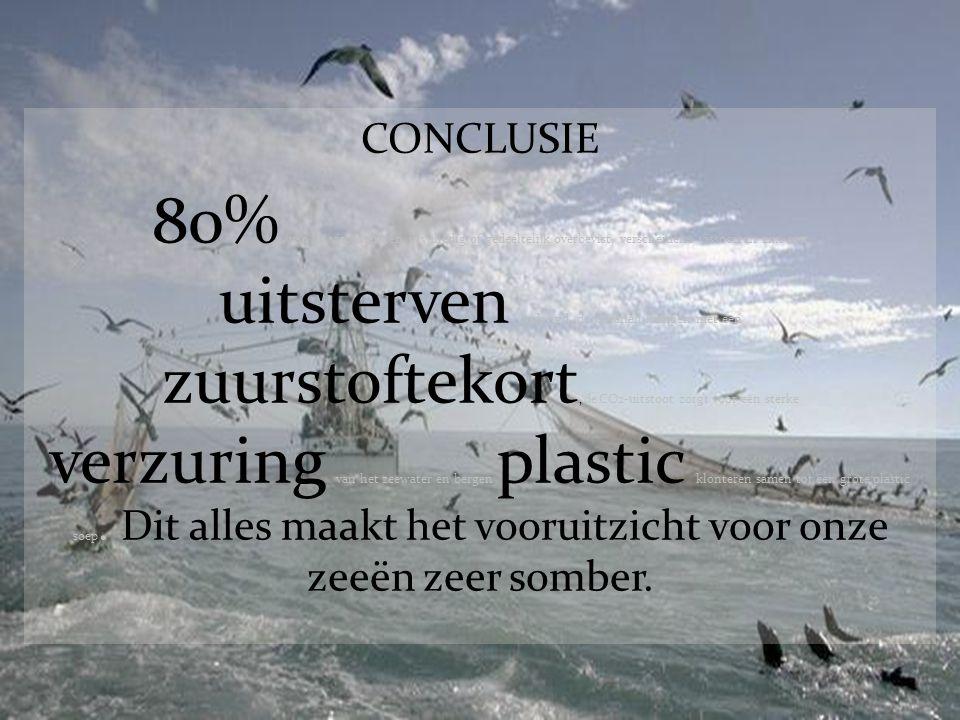 CONCLUSIE 80% van de visbestanden is volledig of gedeeltelijk overbevist, verscheidene vissoorten zijn met uitsterven bedreigd, de oceanen kampen met