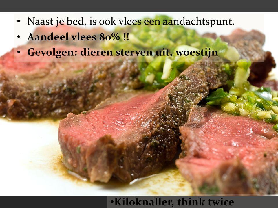 Naast je bed, is ook vlees een aandachtspunt. Aandeel vlees 80% !! Gevolgen: dieren sterven uit, woestijn Kiloknaller, think twice