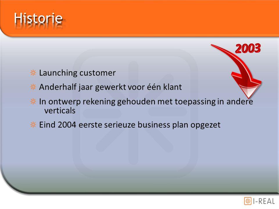 Launching customer Anderhalf jaar gewerkt voor één klant In ontwerp rekening gehouden met toepassing in andere verticals Eind 2004 eerste serieuze bus