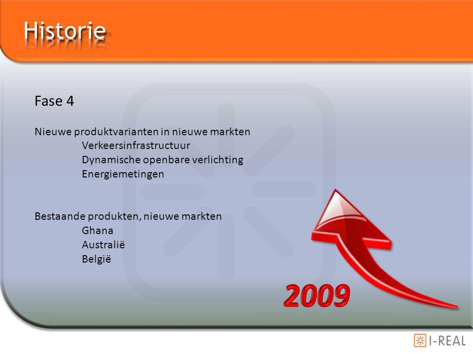 Fase 4 Nieuwe produktvarianten in nieuwe markten Verkeersinfrastructuur Dynamische openbare verlichting Energiemetingen Bestaande produkten, nieuwe ma