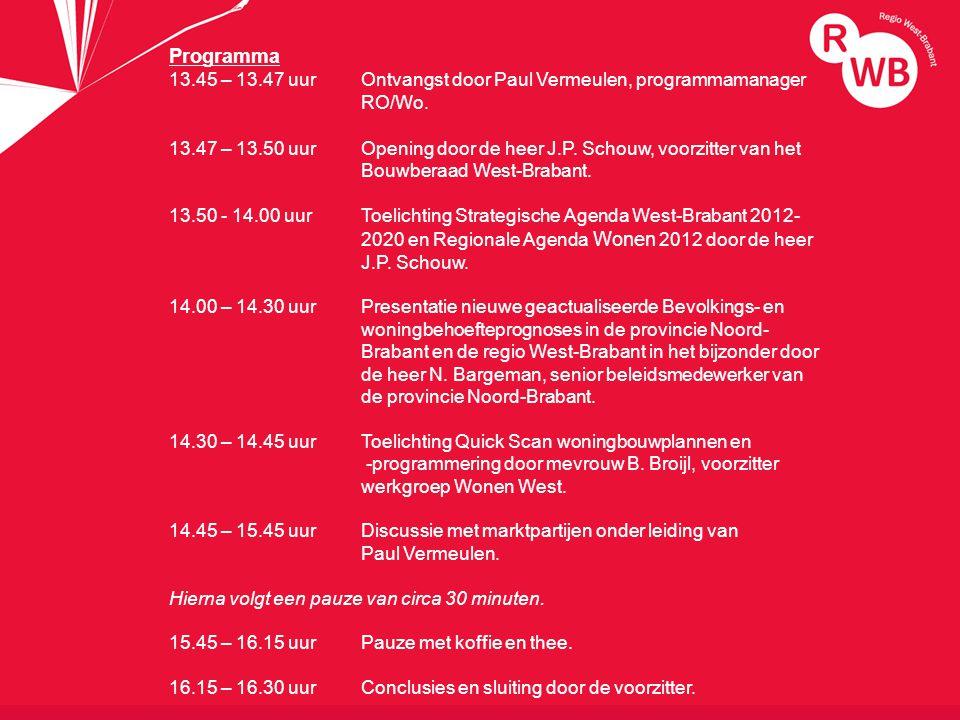 titel Programma 13.45 – 13.47 uur Ontvangst door Paul Vermeulen, programmamanager RO/Wo.
