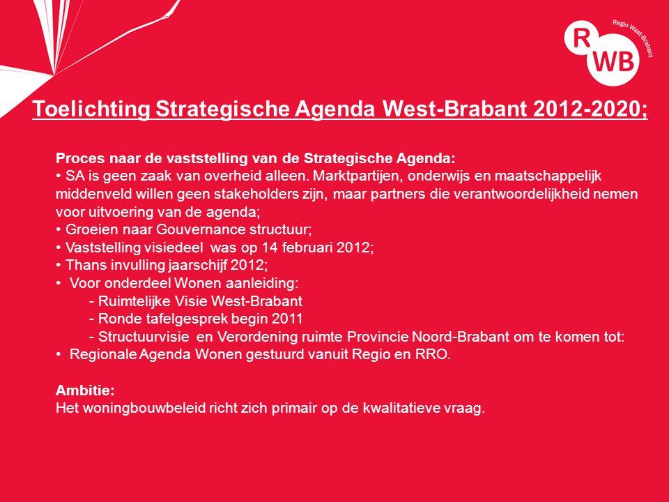 titel Toelichting Strategische Agenda West-Brabant 2012-2020; Proces naar de vaststelling van de Strategische Agenda: SA is geen zaak van overheid alleen.