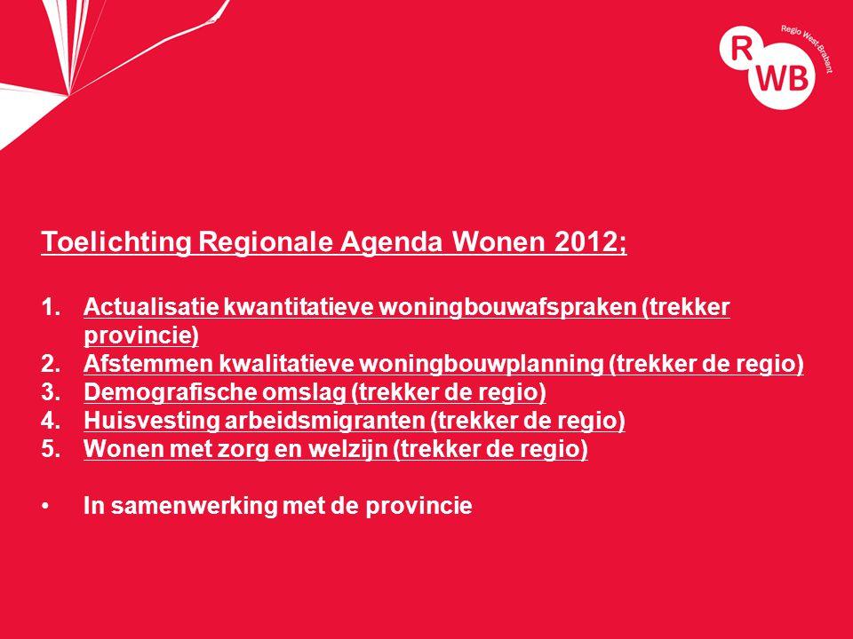 titel Toelichting Regionale Agenda Wonen 2012; 1.Actualisatie kwantitatieve woningbouwafspraken (trekker provincie) 2.Afstemmen kwalitatieve woningbouwplanning (trekker de regio) 3.Demografische omslag (trekker de regio) 4.Huisvesting arbeidsmigranten (trekker de regio) 5.Wonen met zorg en welzijn (trekker de regio) In samenwerking met de provincie
