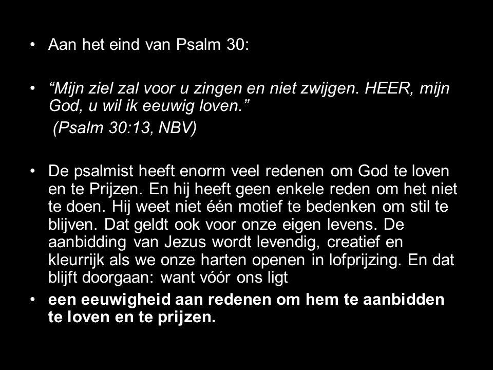 """Aan het eind van Psalm 30: """"Mijn ziel zal voor u zingen en niet zwijgen. HEER, mijn God, u wil ik eeuwig loven."""" (Psalm 30:13, NBV) De psalmist heeft"""
