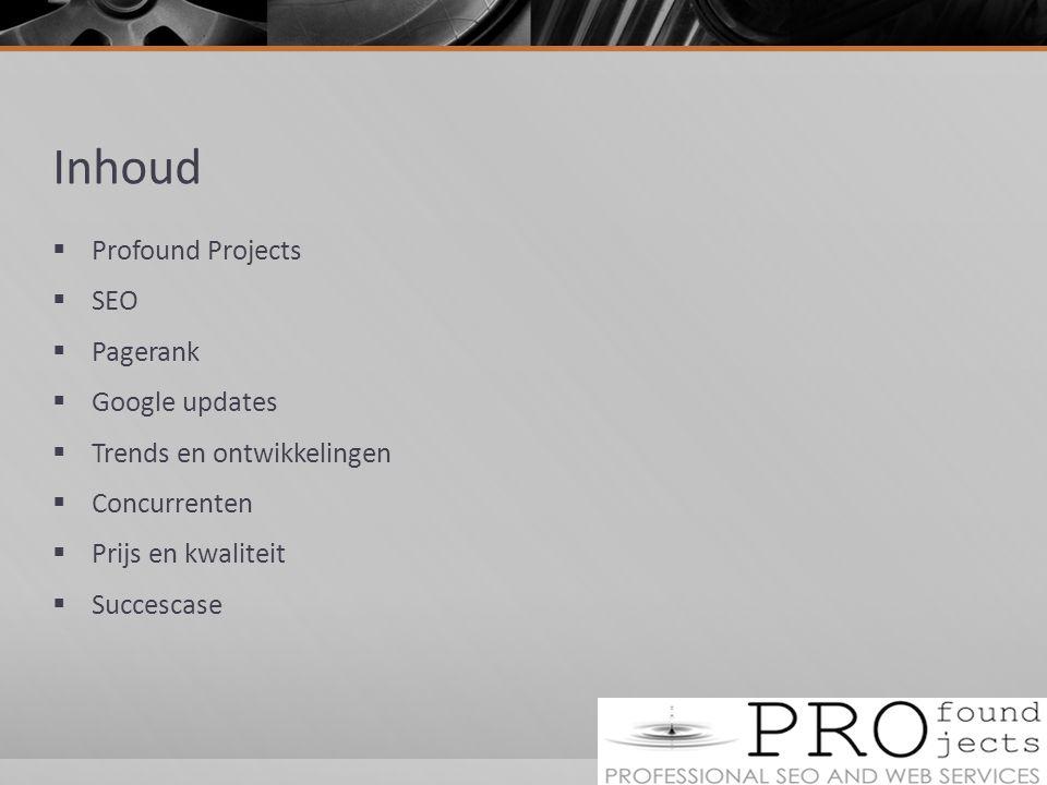 Inhoud  Profound Projects  SEO  Pagerank  Google updates  Trends en ontwikkelingen  Concurrenten  Prijs en kwaliteit  Succescase