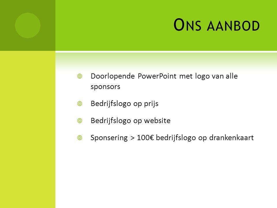O NS AANBOD  Doorlopende PowerPoint met logo van alle sponsors  Bedrijfslogo op prijs  Bedrijfslogo op website  Sponsering > 100€ bedrijfslogo op drankenkaart