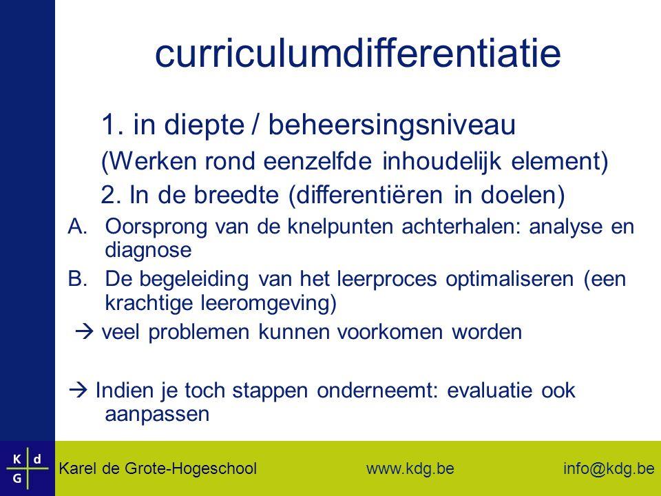 Karel de Grote-Hogeschool info@kdg.be www.kdg.be curriculumdifferentiatie 1.