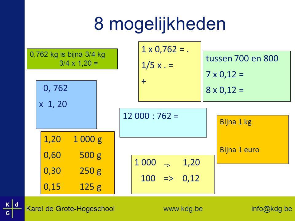 Karel de Grote-Hogeschool info@kdg.be www.kdg.be 0,762 kg is bijna 3/4 kg 3/4 x 1,20 = 8 mogelijkheden 0, 762 x 1, 20 1 x 0,762 =.