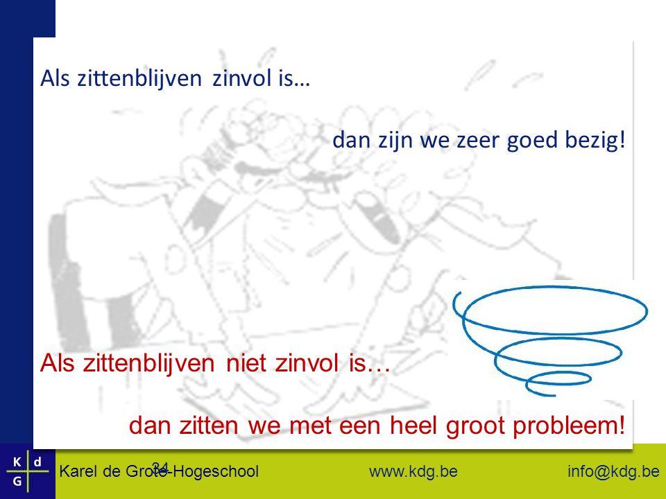 Karel de Grote-Hogeschool info@kdg.be www.kdg.be 34 Als zittenblijven niet zinvol is… dan zitten we met een heel groot probleem.