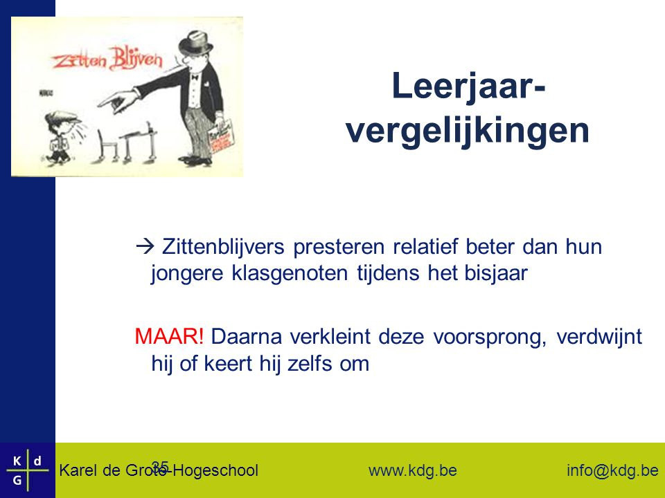 Karel de Grote-Hogeschool info@kdg.be www.kdg.be 35 Leerjaar- vergelijkingen  Zittenblijvers presteren relatief beter dan hun jongere klasgenoten tijdens het bisjaar MAAR.