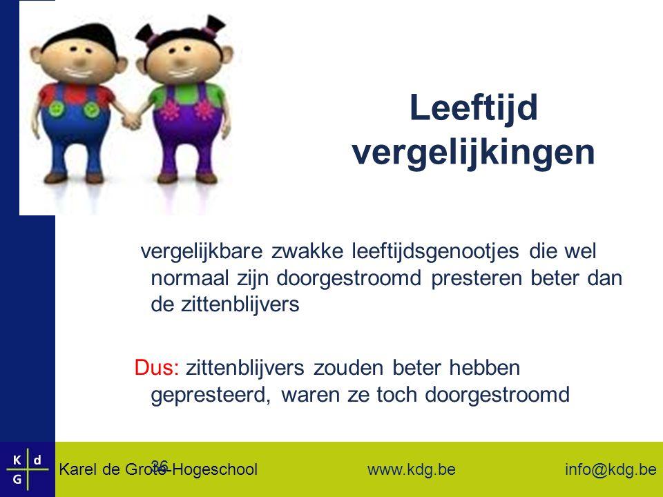 Karel de Grote-Hogeschool info@kdg.be www.kdg.be 36 Leeftijd vergelijkingen  vergelijkbare zwakke leeftijdsgenootjes die wel normaal zijn doorgestroomd presteren beter dan de zittenblijvers Dus: zittenblijvers zouden beter hebben gepresteerd, waren ze toch doorgestroomd