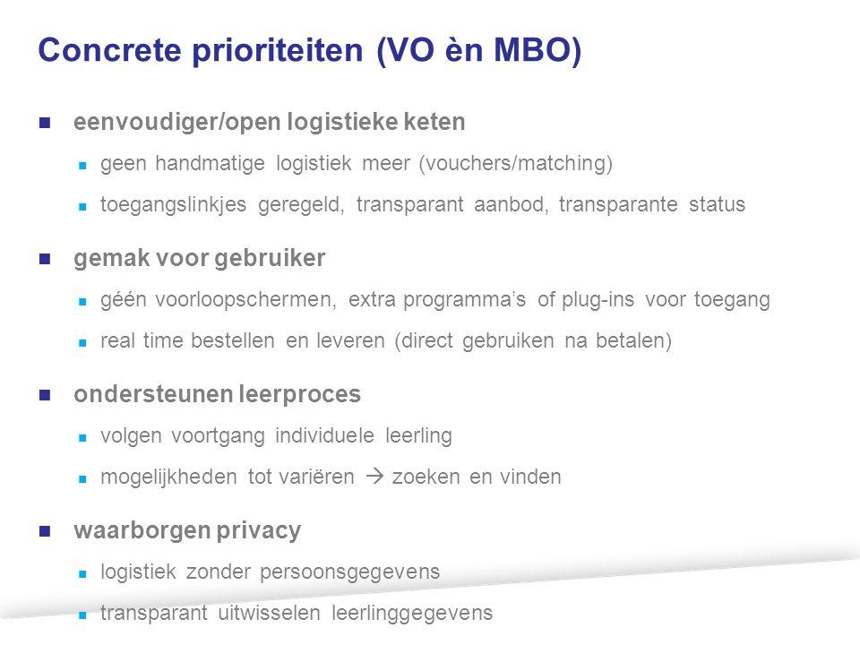 Concrete prioriteiten (VO èn MBO) eenvoudiger/open logistieke keten geen handmatige logistiek meer (vouchers/matching) toegangslinkjes geregeld, trans