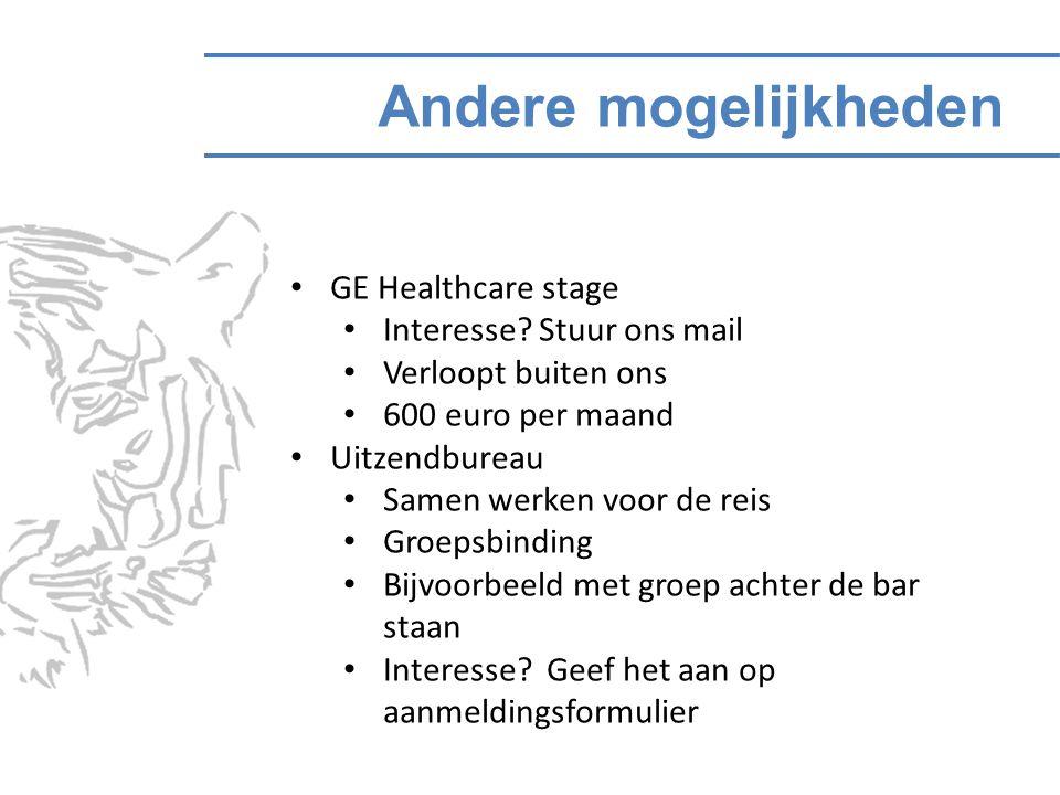 Andere mogelijkheden GE Healthcare stage Interesse.
