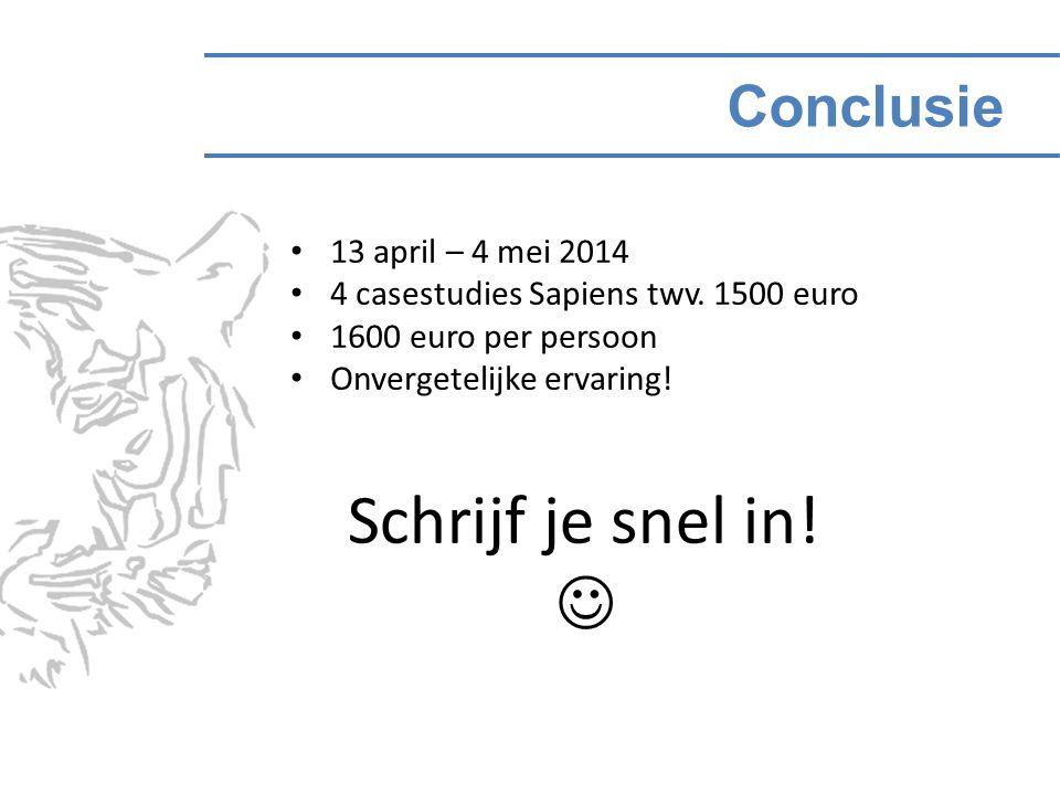 Conclusie Schrijf je snel in. 13 april – 4 mei 2014 4 casestudies Sapiens twv.